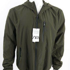 Zara Mens Hooded Windbreaker Jacket XL Green Zip